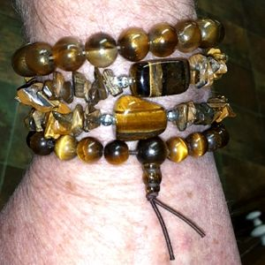 4 Tiger's Eye Boho bracelet bundle